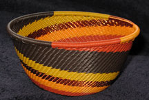 Small African Zulu Telephone Wire Basket/Bowl - Golden Autumn