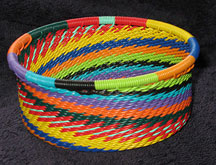 African Zulu Telephone Wire Basket - Tuna Can - Silk Threads