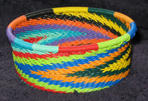 African Zulu Telephone Wire Basket - Tuna Can - Rainbow Swirl