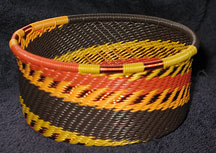 African Zulu Telephone Wire Basket - Tuna Can - Autumn Leaves