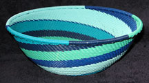 Medium African Zulu Telephone Wire Basket/Bowl  - Blue Seas