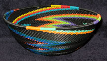 Medium African Zulu Telephone Wire Basket/Bowl  - Electric