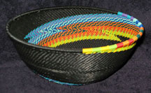 Medium African Zulu Telephone Wire Basket/Bowl  - Special Swirl