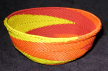 Medium African Zulu Telephone Wire Basket/Bowl  - Sunshine Swirl