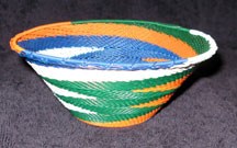 Medium African Zulu Telephone Wire Basket/Bowl  - Grand Zig-Zag