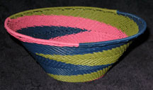 Medium African Zulu Telephone Wire Basket/Bowl  - Preppy Swirl