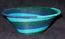 Medium African Zulu Telephone Wire Basket/Bowl  - Blue Moon
