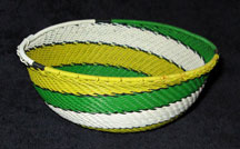 Medium African Zulu Telephone Wire Basket/Bowl  - Lemon Lime