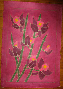 Thai Batik Print on Handmade SAA Paper - Flower #11