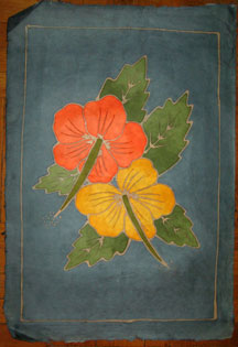 Thai Batik Print on Handmade SAA Paper - Flower #12