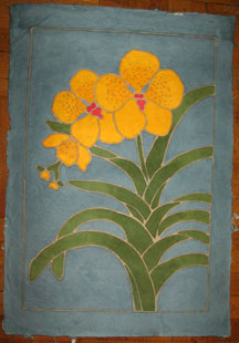 Thai Batik Print on Handmade SAA Paper - Flower #13
