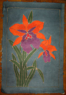 Thai Batik Print on Handmade SAA Paper - Flower #14