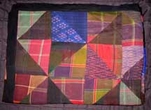 "Thai Handmade Silk Patchwork Quilt/Bed Cover - Patterend/Plaid - 88"" x 84"""
