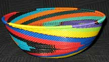 Large African Zulu Telephone Wire Basket/Bowl - Joyous Rainbow Knit