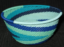 Small African Zulu Telephone Wire Basket/Bowl - Waves