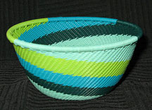 Small African Zulu Telephone Wire Basket/Bowl - Spring