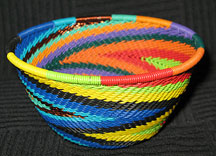 Small African Zulu Telephone Wire Basket/Bowl - Swirling Rainbow