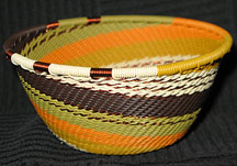 Small African Zulu Telephone Wire Basket/Bowl - Golden