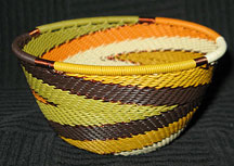 Small African Zulu Telephone Wire Basket/Bowl - Wheat