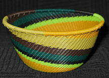 Small African Zulu Telephone Wire Basket/Bowl - Jungle