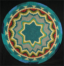 African Zulu Telephone Wire Plate/Basket - Turqouise Star