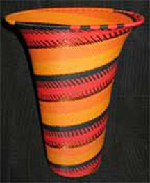 African Zulu Telephone Wire Vase Basket - Firebird