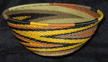Medium African Zulu Telephone Wire Basket/Bowl  - Earth Tones #1