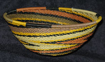 Medium African Zulu Telephone Wire Basket/Bowl  - Earth Tones #3