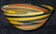 Medium African Zulu Telephone Wire Basket/Bowl  - Earth Tones #4