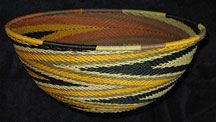 Extra Large African Zulu Telephone Wire Basket/Bowl - Earth Tones #2