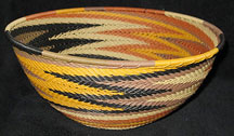 Extra Large African Zulu Telephone Wire Basket/Bowl - Earth Tones #3