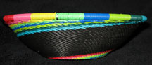 Medium African Zulu Telephone Wire Basket/Bowl - Rainbow Swirl