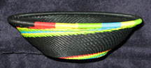 Medium African Zulu Telephone Wire Basket/Bowl  - Citrus Swirl