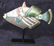 Handmade Modern South African Raku Pottery - Fish on a Stand