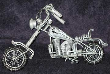 Zulu Miniature Wire Motorcycle Model