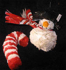 Recycled Plastic Christmas Ornaments - Santa & Candy Cane