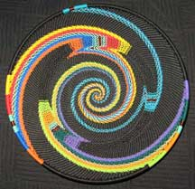 Rainbow and Black Zulu Telephone Wire Basket/Plate - Assymetric Knit