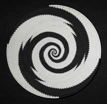 Large African Zulu Telephone Wire Basket/Platter - Black/White Reverse Knit Swirl