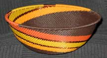 Medium African Zulu Telephone Wire Basket/Bowl - Autumn Leaves