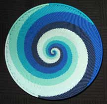 Small African Zulu Telephone Wire Basket/Platter - Blue Skies