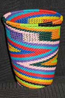 African Zulu Telephone Wire Basket/Cup/Vase - Bright Diversity