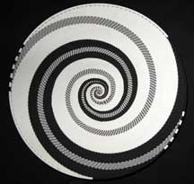 Extra Large African Zulu Telephone Wire Basket/Platter - Black/White Fantasy