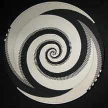 Extra Large African Zulu Telephone Wire Basket/Platter - Black/White Peace