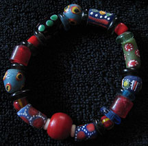 Handmade Recycled Glass African Trade Bead Bracelet - Red/Blues