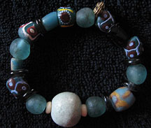 Handmade Recycled Glass African Trade Bead Bracelet - Ocean