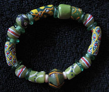 Handmade Recycled Glass African Trade Bead Bracelet - Grass