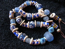 Handmade Recycled Glass African Trade Bead Necklace - Blue Skies