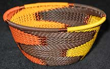 Small African Zulu Telephone Wire Basket/Bowl - Autumn Knit