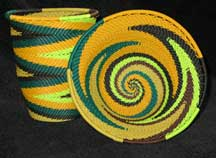 African Zulu Telephone Wire Baskets - Coordinating 2 Piece Set - Cup/Bowl - Jungle Fever