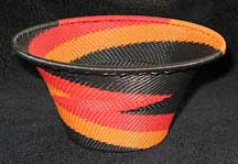 Medium African Zulu Telephone Wire Basket/Bowl - Firebird